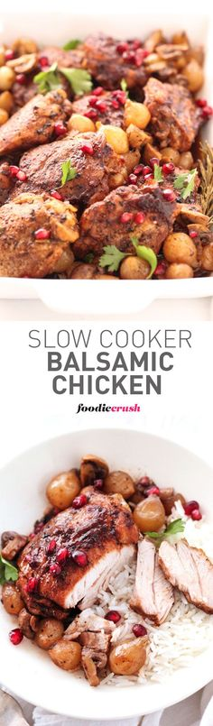 The crock pot makes this an easy chicken dinner that looks fancy enough for entertaining but easy enough for weeknight(Slow Cooker Recipes To Try) Real Food Recipes, Cooking Recipes, Healthy Recipes, Weeknight Recipes, Delicious Recipes, Cake Recipes, Crockpot Dishes, Crock Pot Cooking, Slow Cooker Recipes