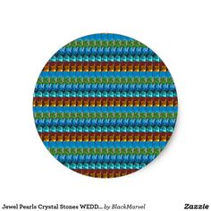 Jewel Pearls Crystal Stones WEDDING Collection FUN Classic Round Sticker