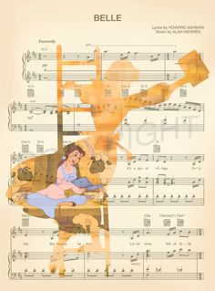 Beauty and the Beast Belle on Ladder Sheet Music Art Print Disney Songs, Disney Art, Disney Sheet Music, Walt Disney, Sheet Music Art, Disney Crafts, Disney Quotes, Disney Love, Disney And Dreamworks