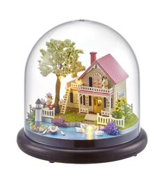Quality Hot Diy Glassball Birthday/valentine/christmas Gifts Miniature Furnitures Model Kits 3d Assemble Toys Creative Diary Dollhouse Superior In