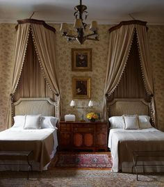 Elegant traditional classic bedroom styling. Fabric canopy. A fabulous and prestigious French Chateau, in a glorious situation in the Loire Valley.