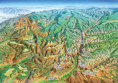 Zion National Park James Niehues - Map Artist - Ski Maps - Resort Maps - Regional Maps