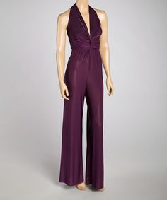 For when i am fit again!!!  Love this Purple Silk-Blend Halter Jumpsuit on #zulily! #zulilyfinds