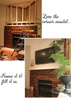 Hottest Photographs Corner Fireplace cabin Ideas Spot fire places offer you assortment advantages to individuals along with accumulating spaces good and also small. Fireplace Remodel, Fireplace Mantle, Living Room With Fireplace, Fireplace Surrounds, Fireplace Design, Corner Fireplaces, Fireplace Ideas, Corner Mantle, Corner Tv