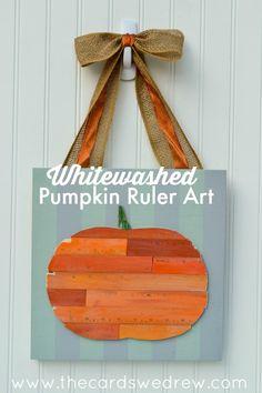 whitewashed pumpkin ruler art
