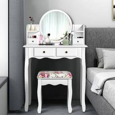 Latitude Run® Nummari Boahaus Matilda Vanity with Mirror & Reviews | Wayfair Modern Vanity Table, Putting On Makeup, Standing Mirror, Make Up Time, Matilda, Storage Spaces, Furniture, Home, Decor