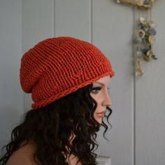 Cotton Knit Slouch Hat Beanie Red/Red by moonflowercreations, $27.00