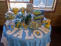 Candy table for Casey and Jason's rubber ducky themed baby shower.