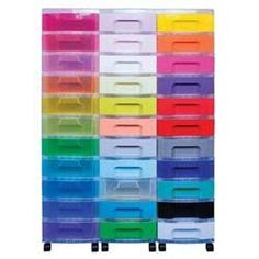 Really Useful Storage Unit   Capacity 33 Drawer X 7L   Black Tower Rainbow  Drawers 5581134