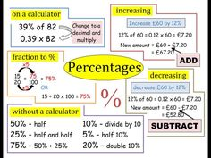 Maths help: What is a percentage? How do you work out a percent of a number? Percent = out of a 100 I have found that percentage is something alot of students find hard. It is strange how we can work out for example but students need to now how to do i Gcse Maths Revision, Maths Exam, Online Math Courses, Math Notes, Math Formulas, Online Tutoring, Math Fractions, Homeschool Math, Catholic Homeschooling