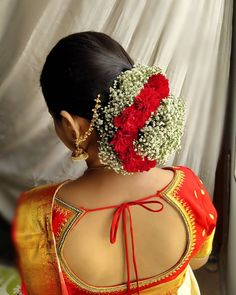 Creating hairstyles for brides/clients especially floral buns is like therapy for me. Art and flowers together, gives good vibes only🌼🌹🌼 . Indian Hairstyles, Bride Hairstyles, Bridal Hair Buns, Gown Skirt, Hairdo Wedding, Bridal Bangles, Hair Jewelry, Flower Jewelry, Beautiful Saree