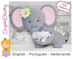 Felt pattern Mama Elephant softie pattern animal por SuperSkattig