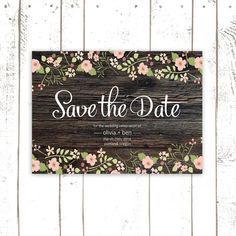 Rustic Save The Date, Printable Save The Dates in Peach and Pink, Wood Save The Date