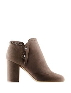 CHANEL Suede Calfskin Ankle Boots With Chain
