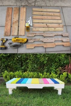 This nice & colored outdoor bench was made by dismantling and reusing only one single wooden pallet. You can see the step-by-step instructions in the images below. If you need some tips to dismantle y (Diy Pallet Bench) Wooden Pallet Projects, Wooden Pallet Furniture, Pallet Crafts, Wooden Pallets, Pallet Ideas, Arte Pallet, Pallet Chair, Pallet Benches, Outdoor Pallet