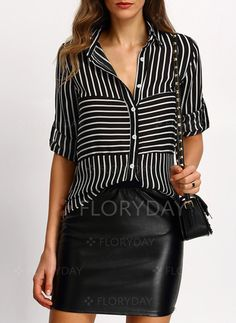 e8b6c6e30b online shopping for SheIn Women s Casual Chiffon Long Sleeve Striped  Buttons Blouse Tops from top store. See new offer for SheIn Women s Casual  Chiffon Long ...