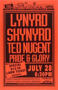 Vintage, retro, hippie classic rock poster - Lynyrd Skynyrd and Ted Nugent