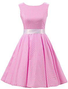Women's Pink White Mini Polka Dot Dress , Vintage Sleeveless 50s Rockabilly Swing Short Cocktail Dress 4598995 2017 – $27.76