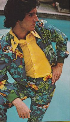 More awesome summer fashion for my guy friends. That palm tree brooch really pulls this outfit together, don't you think?
