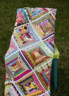 string quilt From the Blue Chair. I just love string and scrap quilts! Scrappy Quilts, Jellyroll Quilts, Easy Quilts, Scrappy Quilt Patterns, Chevron Quilt, Block Patterns, Quilting Projects, Quilting Designs, Quilting Ideas
