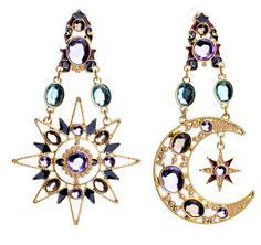 Moon Sun Purple Crystal Gold Vintage Drop Earrings 2016 Fashion Statement Earrings For Women Brinco Pendientes 1E079-in Drop Earrings from Jewelry & Accessories on Aliexpress.com | Alibaba Group