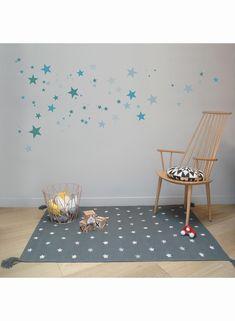 Tapis épais de chambre pour enfant ETOILES gris de la collection Art for Kids