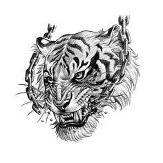 Leg Tattoos, Arm Band Tattoo, Tattoos For Guys, Sleeve Tattoos, Tiger Tattoo Design, Tattoo Designs, Blackwork, Broken Tattoo, Chain Tattoo