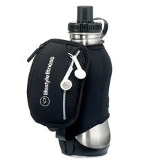 Carry your water bottle while you run with this stainless steel water bottle with neoprene sleeve!