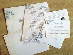 DEPOSIT Orchids Fleur de Lis Wedding Invitation Suite 6pc, Round Corners, 2 Side Invite, Heavy 110# Stock, Guest Addressed Printed Envelopes on Etsy, $100.00