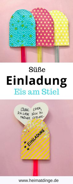 """DIY invitation card """"Eis am Stil"""" from Klorolle in 5 min - all-invitations. Make Your Own Invitations, Fun Wedding Invitations, Diy Invitations, Birthday Party Invitations, Invitation Cards, A Birthday Party, Birthday Cards, Happy Birthday, Upcycled Crafts"""