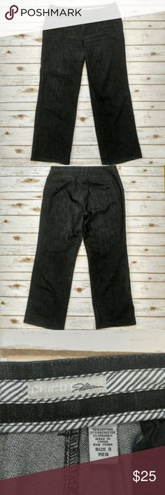 """Chico's Platinum Dark Denim Boot Cut Jeans Chico's Platinum Dark Denim Boot Cut Jeans  Size 3 or 16 in excellent condition. 20"""" waist 33"""" inseam. Please let me know if you have any questions. I ship the same day as long as the post office is still open. Have a great day, thanks for checking out my closet and happy poshing! Chico's Jeans Boot Cut"""