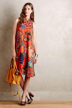 Larkhill Swing Dress - anthropologie.com love the bold pattern and high neckline, would prefer a more fitted waist though