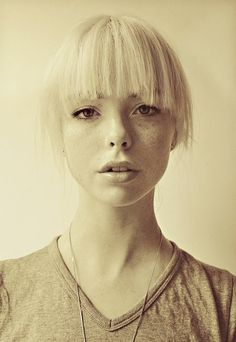 I love the combination of platinum blonde and freckles!