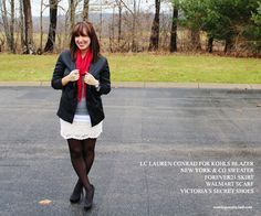 Lace dress as a skirt with gray sweater, red scarf, and black blazer via Coming Unstitched