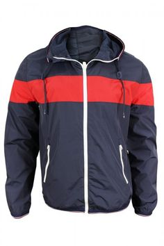 Tommy Hilfiger Men's Navy Red Hooded Windbreaker