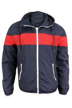 Tommy Hilfiger Men's Navy Red Hooded Windbreaker