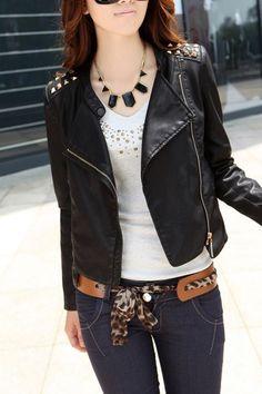 Punk Style Zip Cuff Pyramid Rivet Detail Biker Jacket