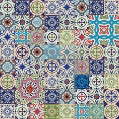 Mega Gorgeous seamless patchwork pattern from colorful Moroccan, Portuguese tiles, Azulejo, ornaments. Can be used for wallpaper, pattern… Patchwork Fabric, Patchwork Patterns, Eq Arte, Moroccan Fabric, Moroccan Tiles, Moroccan Bedroom, Moroccan Lanterns, Moroccan Interiors, Turkish Tiles