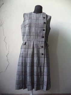 60s Plaid Wool Knife Pleat Dress/ s.m by GibsonGirlVintage on Etsy