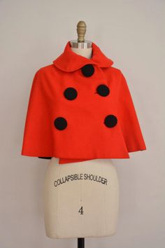 1950's Red Wool Capelet. Adorable!