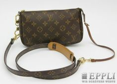 LOUIS VUITTON Pochette exclusive 3-piece set consisting of: Pochette, carbines and shoulder strap.  Factory price about € 615, - Starting Price € 360,-