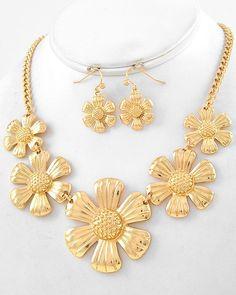 gold metal lead compliant graduating flower necklace fish hook earring set#prom