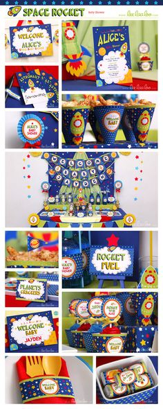 •• Space Rocket Baby Shower Party Theme ••  Shop Them Here:  https://www.etsy.com/shop/LeeLaaLoo/search?search_query=s22&order=date_desc&view_type=gallery&ref=shop_search  ♥♥♥ Vendor Credits:  ♥ Party Styling: LeeLaaLoo - www.leelaaloo.com  ♥ Party Printable Design & Decoration: LeeLaaLoo - www.etsy.com/shop/leelaaloo  Our YouTube channel for some DIY tutorials here: http://www.youtube.com/leelaaloopartyideas
