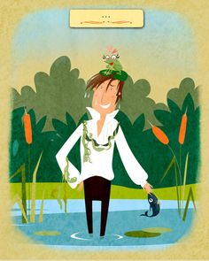 Mr. Darcy and the infamous pond. (Cutest illustrated Jane Austen site...Pemberly Pond.)
