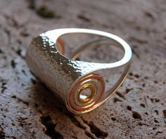 Silver ring with circles on brass and bronze!