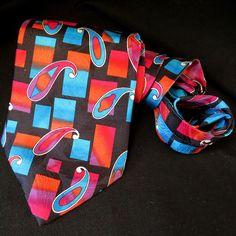 Classic Barry Wells 100% Silk Necktie Paisley Embossed Print Pink Red Blue USA #BarryWells #Tie