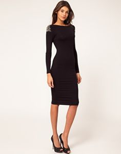 little black dress with embellished shoulder.  reeeeally want this!