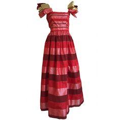 Richilene New York 70s silk taffeta striped gown size 4. 1