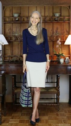 Navy Three-Quarter Sleeve Tee, Khaki Skirt, Trotters Kitten Heel Pumps And Tory Burch Woven Leather Tote
