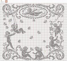 CLUB DE LAS AMIGAS DE LAS MANUALIDADES (pág. 564) | Aprender manualidades es facilisimo.com Filet Crochet Charts, Crochet Doily Patterns, Thread Crochet, Crochet Designs, Crochet Doilies, Cross Stitch Angels, Just Cross Stitch, Cross Stitch Charts, Cross Stitch Patterns